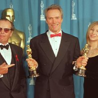 Oscar-1993. Jack-Nicholson and Barbra Streisand with Clint Eastwood